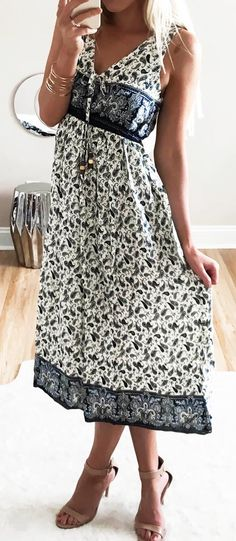 If you are anything like you change your mind... a lot! It is decorated with classic printing and elastic waist. It's certainly perfect for various occasions. But one thing we haven't changed our mind about is how much we love this dress!