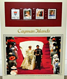 Postal Commemorative Society Royal Wedding Philatelic Panel, Princess Diana And Prince Charles Royal Wedding, July 29, 1981, Stamps Issued By The Cayman Islands