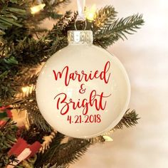 Commemorate your big day or that of a loved one with these beautiful Christmas wedding ornaments. Wedding Christmas Ornaments, Ornament Wedding Favors, Our First Christmas Ornament, Diy Wedding Favors, Sentimental Wedding Gifts, Rustic Wedding Gifts, Personalized Wedding Gifts, Newlywed Christmas Card, Newlywed Gifts