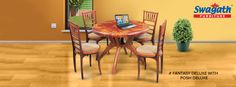 Well carved out Fantasy Deluxe dining #table with Posh Deluxe #chairs can match any interior design. Get more details at www.swagath.co !!
