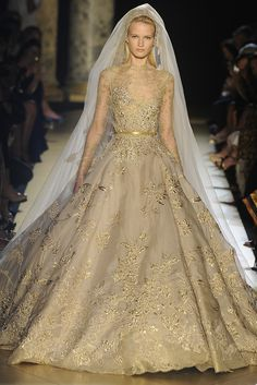 Elie Saab  fine lace and gold embroidered couture Wedding dress