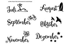 Silhouette plotter file free, Plotter Datei kostenlos, plotter freebie, Monate, Juli, August, September, Oktober, November, Dezember, month, July August September October November December
