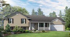 Lexington Floor Plan: Split-Level Custom Home - Wayne Homes House With Porch, House Front, Custom Home Designs, Custom Homes, Tri Level House, Split Level Exterior, Front Porch Addition, Wayne Homes, Split Level Remodel