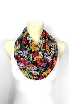 Boho Infinity Scarf Spring Floral Scarf Printed Scarf Infinity Loop Scarf Celebrations Mothers Day from Daughter Husband Son Gift for Wife