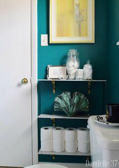 Rental Approved DIY Bathroom Shelving Storage   Rental Bathroom Ideas   Moody Bathroom   No Damage Rental Shelving Idea