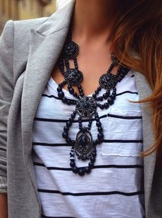 I'd love to be able to pull this whole thing off. That necklace with this T and jacket is fabulous.