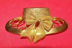"Fashion Hat Ribbon Gold Tone Pin Women's Fashion Jewelry 3"" Size."