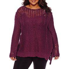 Arizona Long Sleeve Round Neck Pullover Sweater-Juniors Plus ($25) ❤ liked on Polyvore featuring plus size women's fashion, plus size clothing, plus size tops, plus size sweaters, purple sweater, arizona sweater, round neck sweater, long sleeve sweater and purple pullover sweater