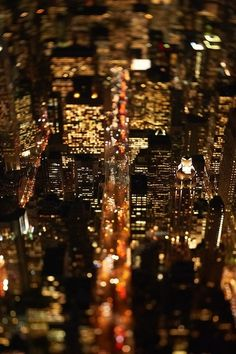 an interesting view of Manhattan by night