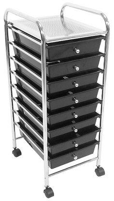 Trolley Black 8 Drawer Salon Furniture Equipment Utility Storage Cart