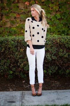 Polka Dot Patterned Sweater over Button Down Shirt with white Jeans