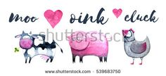 Farm animals set. Hand painted watercolor illustration for children's books or cards. Cow, pig and chicken sounds.