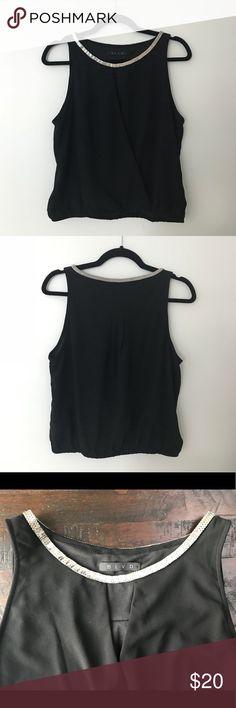 Black Plunging Surplice Collared Top Black BLVD top with a plunging surplice bodice and metallic collar. Never worn. BLVD Tops