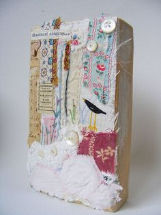 Original textile collage artwork mounted on reclaimed by hensteeth, $72.00