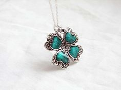 St Patrick's Day Silver Lucky Shamrock Necklace by smallbluethings, $27.00