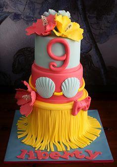 Luau cake by Sandy's Cakes 30 Birthday Cake, Luau Birthday, Hawaiian Birthday, Fondant Cakes, Cupcake Cakes, Cupcake Recipes, Hawaiin Cake, Beautiful Cakes, Amazing Cakes