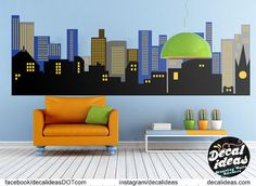 This Printed Gotham City Wall Decal of a City Skyline is made from High Quality, non Toxic and Eco Friendly material.  Great thing about Decal