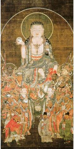 """Kṣitigarbha is a bodhisattva primarily revered in East Asian Buddhism, usually depicted as a Buddhist monk in the Orient. The name may be """"Earth Matrix"""", or """"Earth Womb."""" Kṣitigarbha is known for his vow not to achieve Buddhahood until all hells are emptied; therefore, he is regarded as the bodhisattva of hell beings. Usually depicted as a monk with a nimbus around his shaved head, he carries a staff to force open the gates of hell and a wish-fulfilling jewel to light up the darkness."""