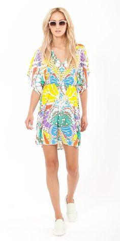 Yellow Butterfly Print Crepe Tunic Dress