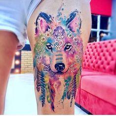Aquarell Tätowierung #aquarell #tatowierung Wolf Tattoos, Animal Tattoos, Body Art Tattoos, New Tattoos, Sleeve Tattoos, Eagle Tattoos, Aquarell Wolf Tattoo, Watercolor Wolf Tattoo, Watercolor Dreamcatcher Tattoo