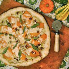 #PizzaTuesday Roasted Fairytale Pumpkin & Sage #Pizza: Roasted fairytale pumpkin, crispy roasted sage leaves, hazelnuts, homemade jalapeño honey glaze, shaved parmesan cheese