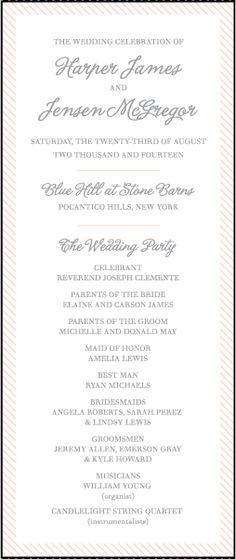 Letterpress Wedding Program panels   Simple Stripes Design   Bella Figura Letterpress