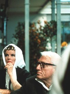 """Kate and Spence. (Spencer Tracy and Katharine Hepburn on the set of """"Guess Who's Coming to Dinner,""""1967.)"""
