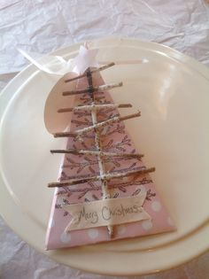 Try a non traditional colour this Christmas, a spot of pink!, a stamp and a stick tree.