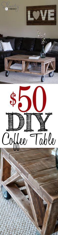 DIY Coffee Table for under $50 at Shanty-2-Chic.com