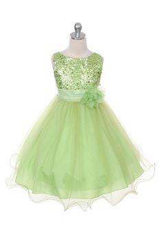 Sequin Lime Green Tulle Skirt Flower Girl Dress