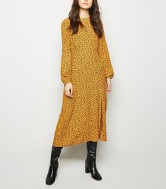 Discover the latest trends at New Look. Midi Dress Outfit, Yellow Midi Dress, Floral Midi Dress, New Dress, Dress Outfits, Dresses, Long Sleeve Midi Dress, Dress With Boots, Modest Fashion