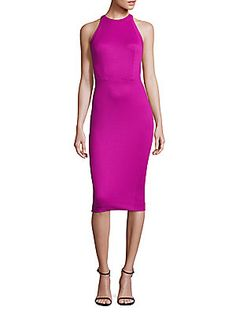 ZAC POSEN HIGH-NECK SLEEVELESS DRESS. #zacposen #cloth #