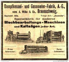 Original-Werbung/ Anzeige 1903 - DAMPFKESSEL UND GASOMETER FABRIK WILKE BRAUNSCHWEIG  - ca. 95 x 80 mm