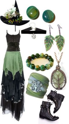 50 Ideas dress green forest outfit for 2019 Modern Witch Fashion, Dark Fashion, Trendy Fashion, Fashion Outfits, Trendy Style, Bohemian Fashion, Hippie Goth, Hippie Gypsy, Witchy Outfit