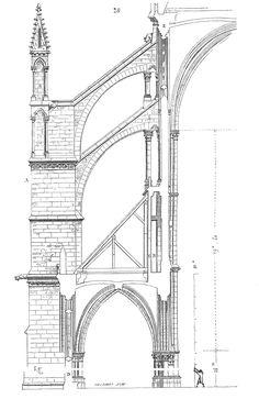 Les arcs-boutants de la nef de la cathédrale d'Amiens - Dessin de Viollet-le-Duc