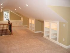 """Finished attic with built in storage.great use of normally """"unusable"""" space. Finished attic with built in storage.great use of normally unusable space. Attic Storage, Built In Storage, Wall Storage, Paper Storage, Craft Storage, Wall Shelves, Open Shelves, Extra Storage, Alcove Storage"""