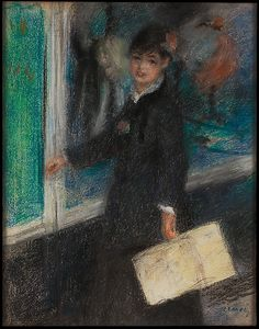 Auguste Renoir (French, 1841–1919). The Milliner, 1877. The Metropolitan Museum of Art, New York. The Lesley and Emma Sheafer Collection, Bequest of Emma A. Sheafer, 1973 (1974.356.34) | Like Degas, Renoir depicted Parisian milliners in the late 1870s and 1880s. Whereas Degas derived humor from the activity of buying a hat, Renoir focused on the charms of the young salesgirls. #paris