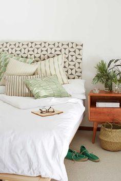 Skinny La Minx fabric headboard, also love the bedside table Decor Pad, Grey Pillows, Linen Bedding, Bed Linen, Beautiful Interiors, Interior Design, House, Furniture, Bedroom Inspiration