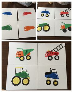 Foot print trucks: paint child's foot and stamp footprint onto paper or canvas. Cut out wheels and other accents and glue down. Paint details and admire your finished product!