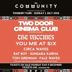 Check out the lineup, dates, and tickets for Community Festival 2018 in London. Track your favorite artists on Songkick and never miss another concert.