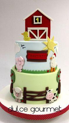 Farm Cake First birthday cake Farm Birthday Cakes, Baby Boy Birthday Cake, Animal Birthday Cakes, Farm Animal Birthday, Baby Boy Cakes, Animal Cakes, Cakes For Boys, Barnyard Cake, Farm Cake