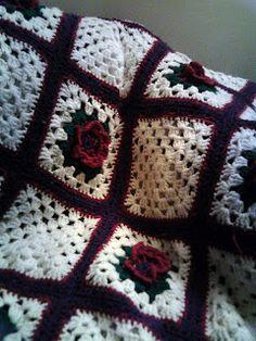Granny Square blanket - flowers and plain blocks Crochet Squares Afghan 1e10e546aa2f