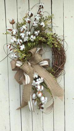 Cotton Wreath Cotton Boll Wreath Preserved Cotton Wreath by Keleas Wreath Crafts, Diy Wreath, Wreath Ideas, Grapevine Wreath, Burlap Wreath, Stick Wreath, Burlap Bows, Easter Wreaths, Fall Wreaths