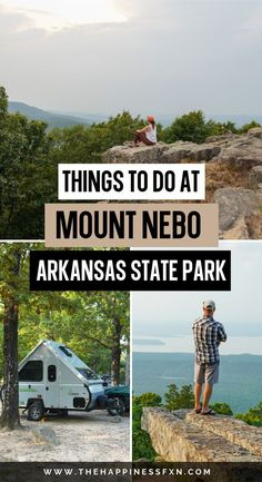 Discover all the things not to miss at Mount Nebo State Park, Arkansas! Mount Nebo is an Arkansas hidden gem. You'll want to take your time and explore the beauty of this State Park. There's so much more than hiking trails - you can go mountain biking, camping, swimming at the pool, or even just enjoy nature from one of the many scenic overlooks. Get outdoors and get exploring with these great tips for visiting Mount Nebo State Park in Arkansas.   Arkansas road trip   Camping And Hiking, Hiking Trails, Outdoor Travel, Outdoor Gear, Get Outdoors, Weekend Getaways, Arkansas, Travel Guides, State Parks
