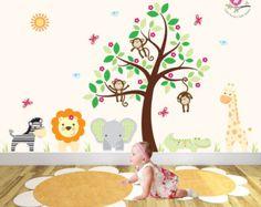Jungle Decal Yellow and Grey nursery decor от EnchantedInteriorsUK