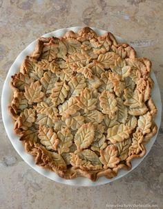 Apple Pie with pie crust leaf embellishments | homeiswheretheboatis.net