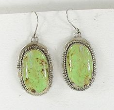 Authentic Native American sterling silver and Gaspeite wire earrings by Navajo artist John Nelson