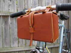 Leather Bike Bag, Dark Brown Tool Bag, Handmade