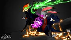 Nick Wilde and Judy Hopps as wizard Mages.