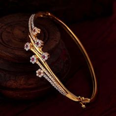 Diamond Bangle, Diamond Jewelry, Gold Jewelry, Women Jewelry, Gemstone Bracelets, Bangle Bracelets, Gemstone Jewelry, Gold Bangles Design, Jewelry Design